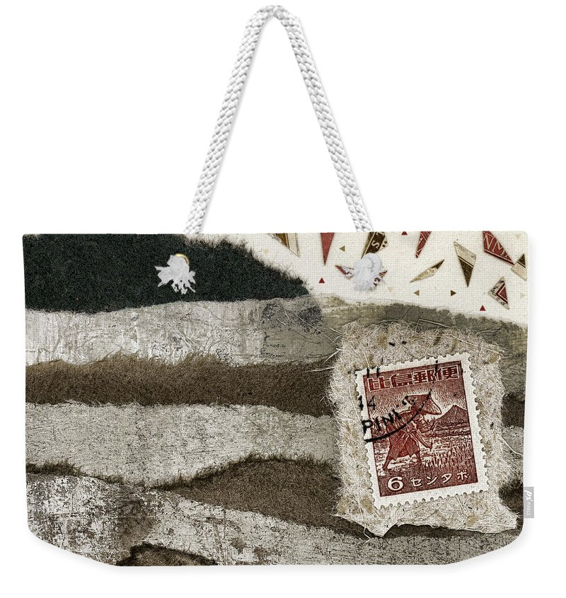 Collage Weekender Tote Bag featuring the mixed media Rice Paddies Collage by Carol Leigh