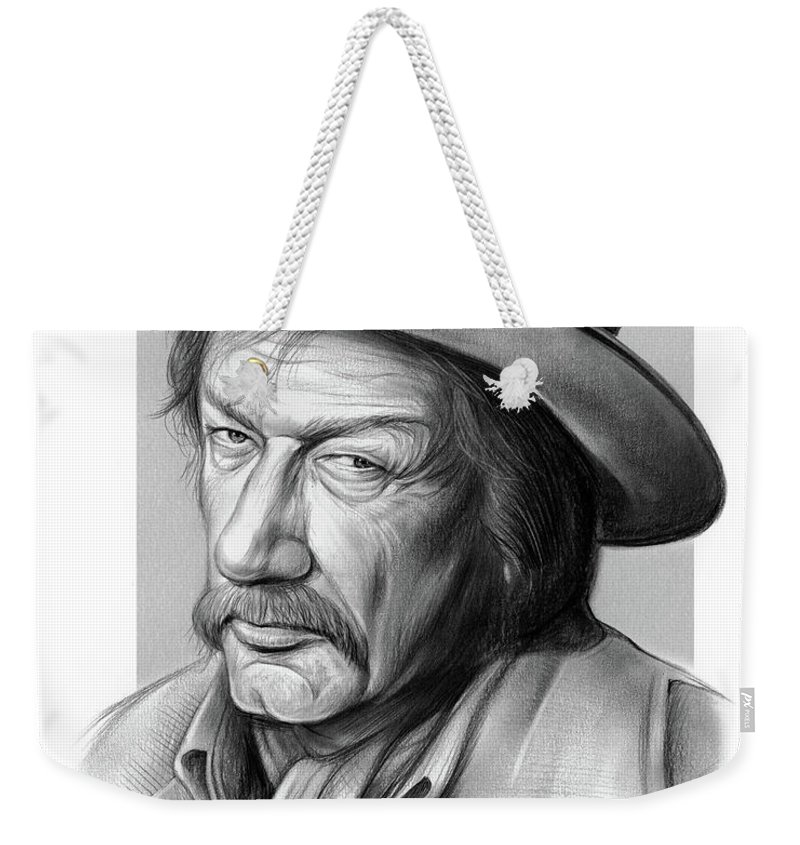 Richard Boone Weekender Tote Bag featuring the drawing Richard Boone 3 by Greg Joens