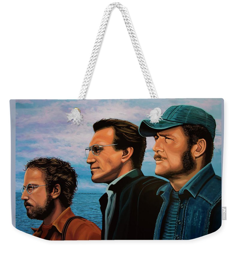 Jaws Weekender Tote Bag featuring the painting Jaws with Richard Dreyfuss, Roy Scheider and Robert Shaw by Paul Meijering