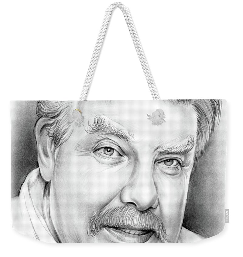 Richard Griffiths Weekender Tote Bag featuring the drawing Richard Griffiths by Greg Joens