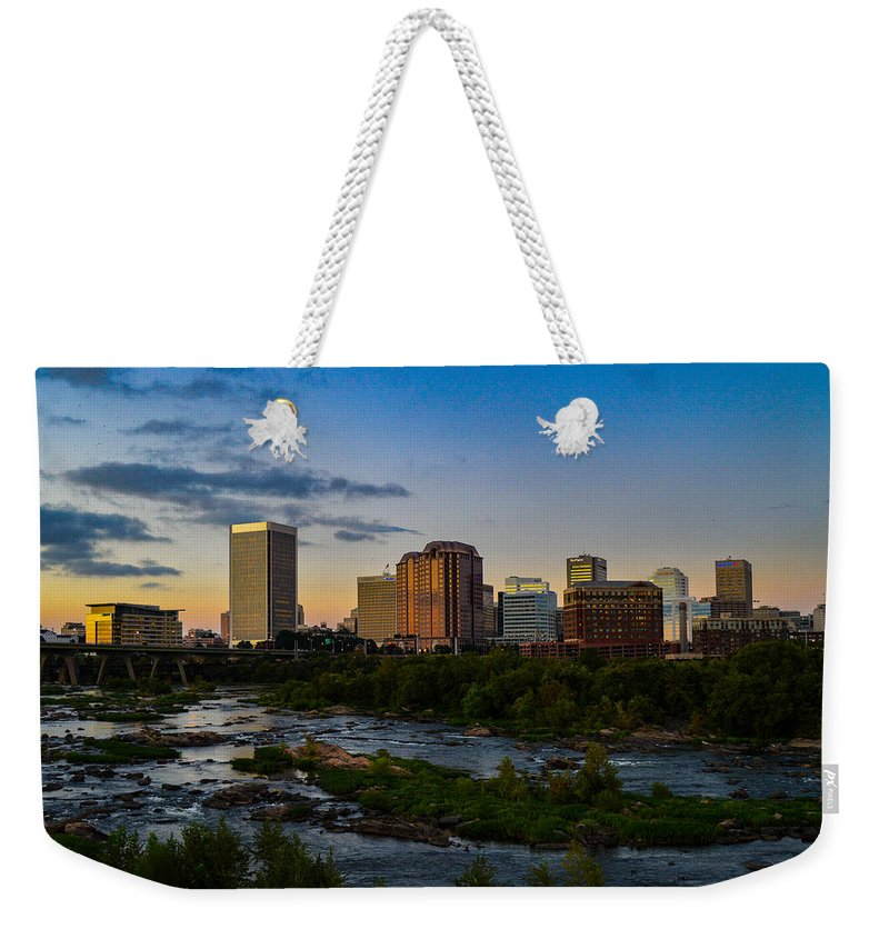Richmond Weekender Tote Bag featuring the photograph Richmond Skyline At Dusk by Aaron Dishner