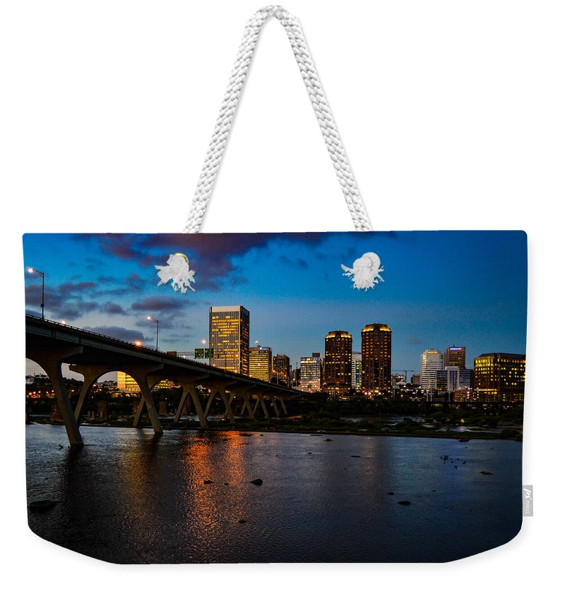 Richmond Weekender Tote Bag featuring the photograph Richmond Skyline At Night by Aaron Dishner