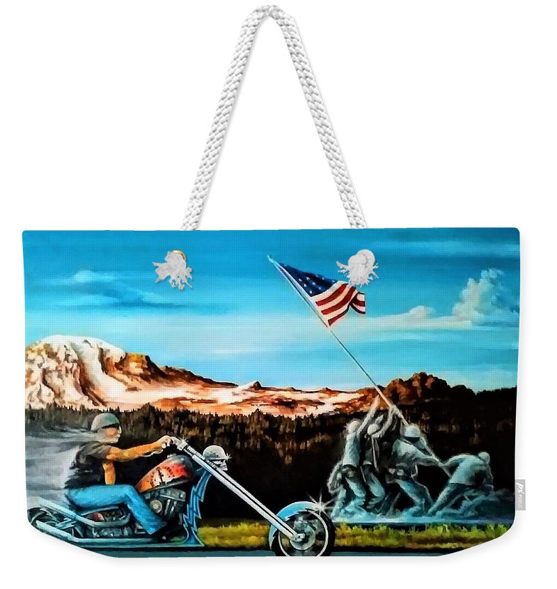 Iwojima Weekender Tote Bag featuring the painting Ride Forever by DC Houle