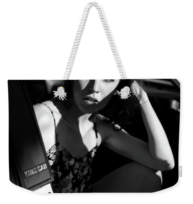 Black And White Weekender Tote Bag featuring the photograph Ride by Paige Freier