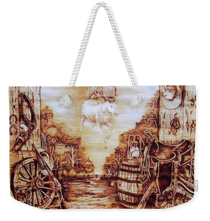 Western Weekender Tote Bag featuring the pyrography Riders In The Sky by Danette Smith
