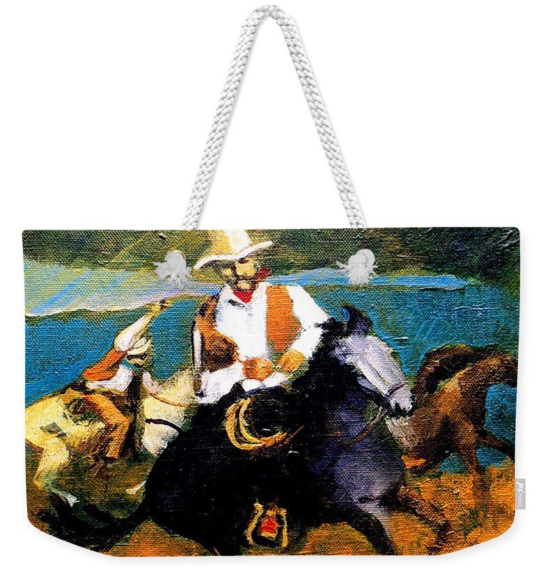 Wranglers Weekender Tote Bag featuring the painting Riders in the Storm by Seth Weaver