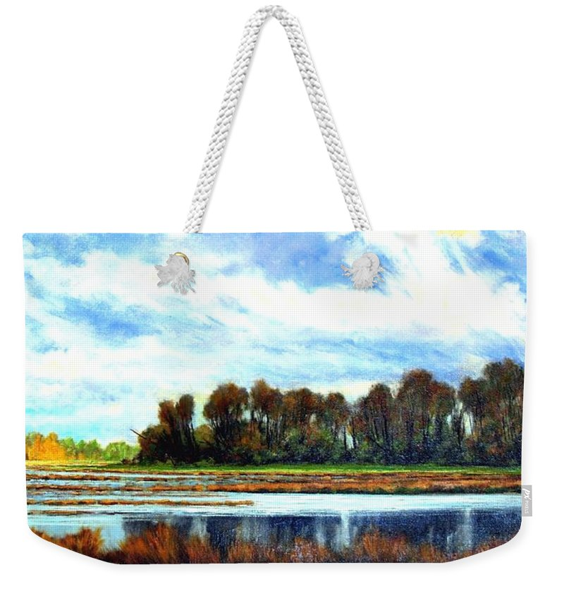 Landscapes Weekender Tote Bag featuring the painting Ridgefield Refuge Early Fall by Jim Gola