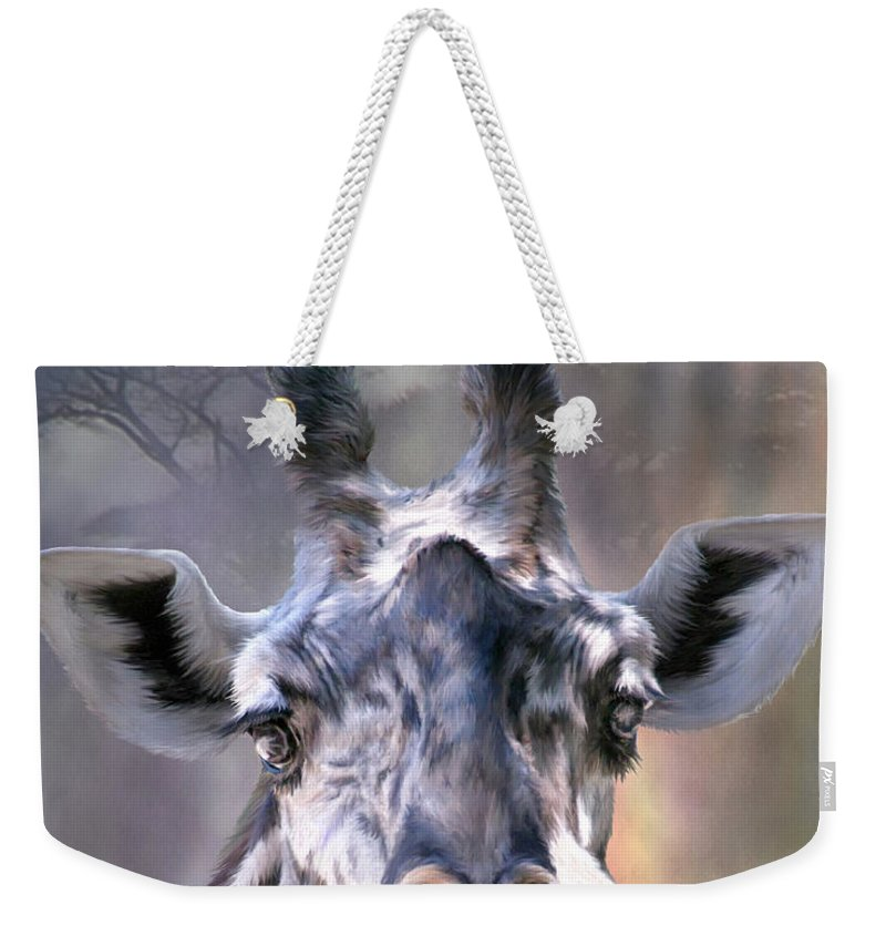 Giraffe Weekender Tote Bag featuring the mixed media Ridin' High by Carol Cavalaris