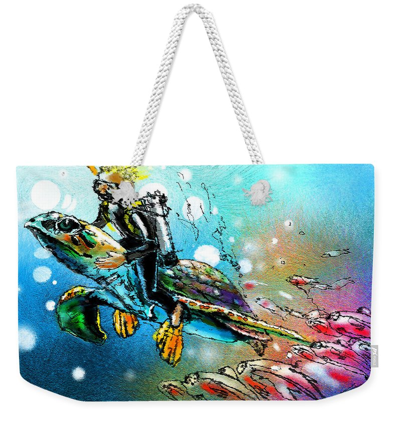 Turtle Painting Weekender Tote Bag featuring the painting Riding A Turtle by Miki De Goodaboom