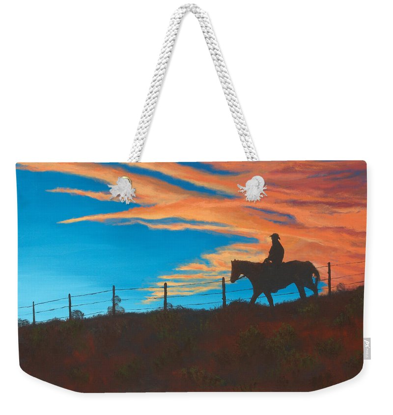 Cowboy Weekender Tote Bag featuring the painting Riding Fence by Jerry McElroy