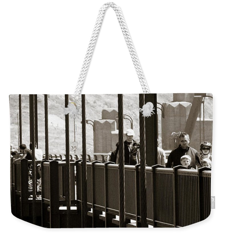 Americana Weekender Tote Bag featuring the photograph Riding The Golden Gate by Marilyn Hunt