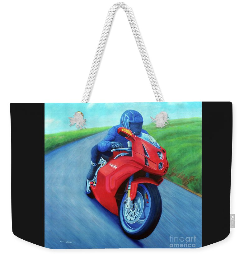 Motorcycle Weekender Tote Bag featuring the painting Riding The Highlands - Ducati 999 by Brian Commerford