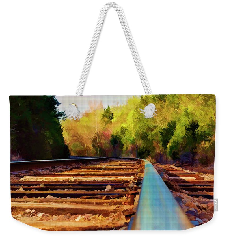 Railroad Weekender Tote Bag featuring the photograph Riding The Rail by Ricky Barnard