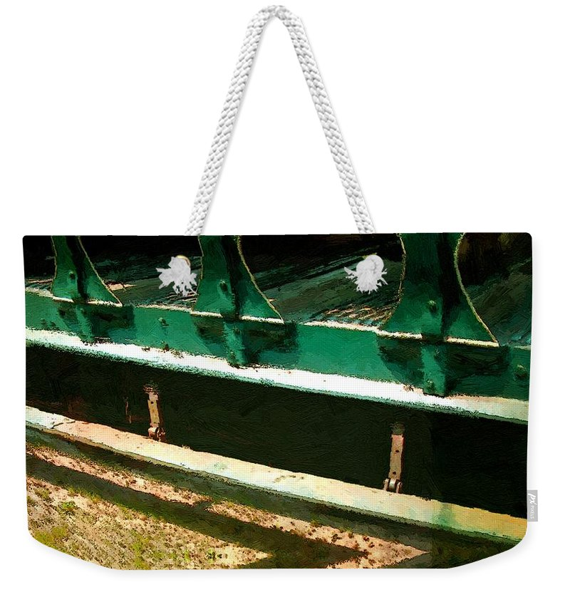 Antique Weekender Tote Bag featuring the painting Riding The Rails by RC DeWinter