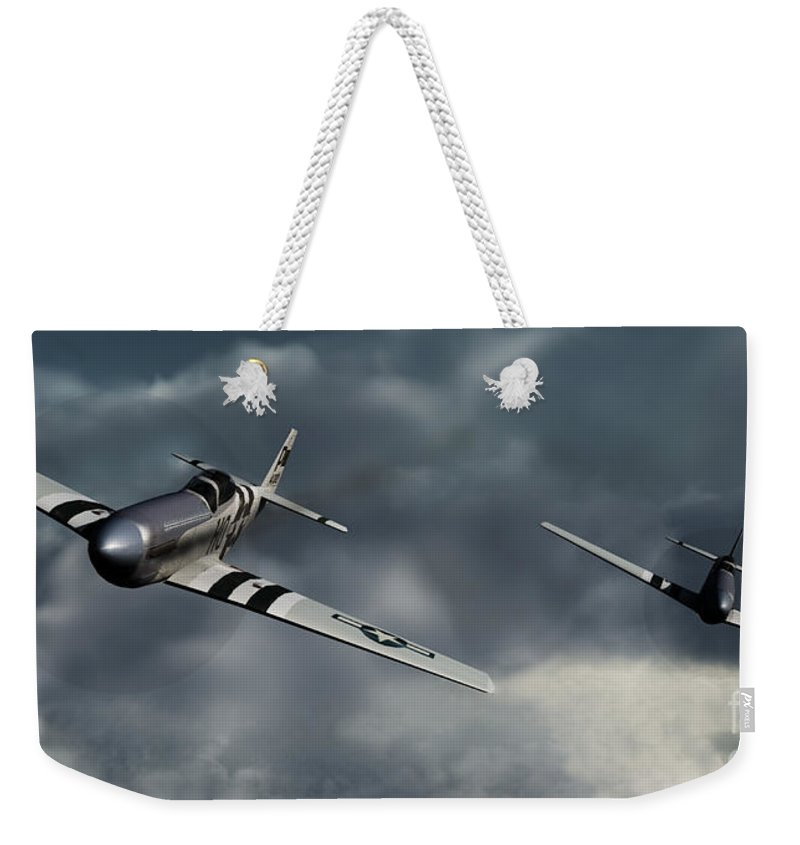 Warbirds Weekender Tote Bag featuring the digital art Riding The Storm by Richard Rizzo