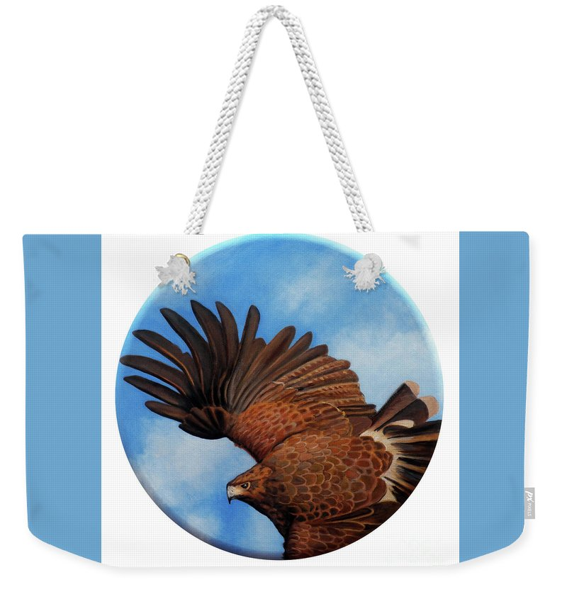 Hawk Weekender Tote Bag featuring the painting Riding the Wind by Brian Commerford