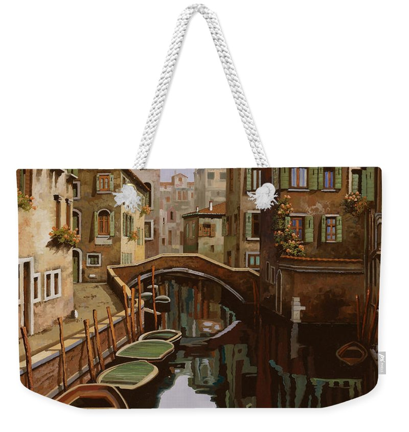 Venice Weekender Tote Bag featuring the painting Riflesso Scuro by Guido Borelli