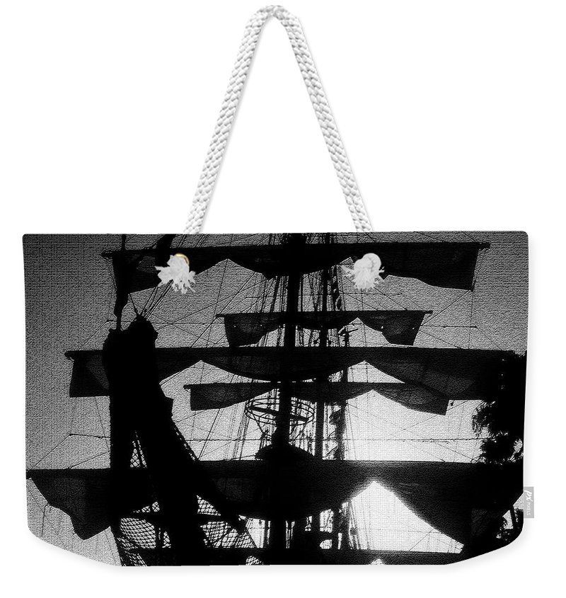 Sailing Ship Weekender Tote Bag featuring the painting Rigging And Sail by David Lee Thompson