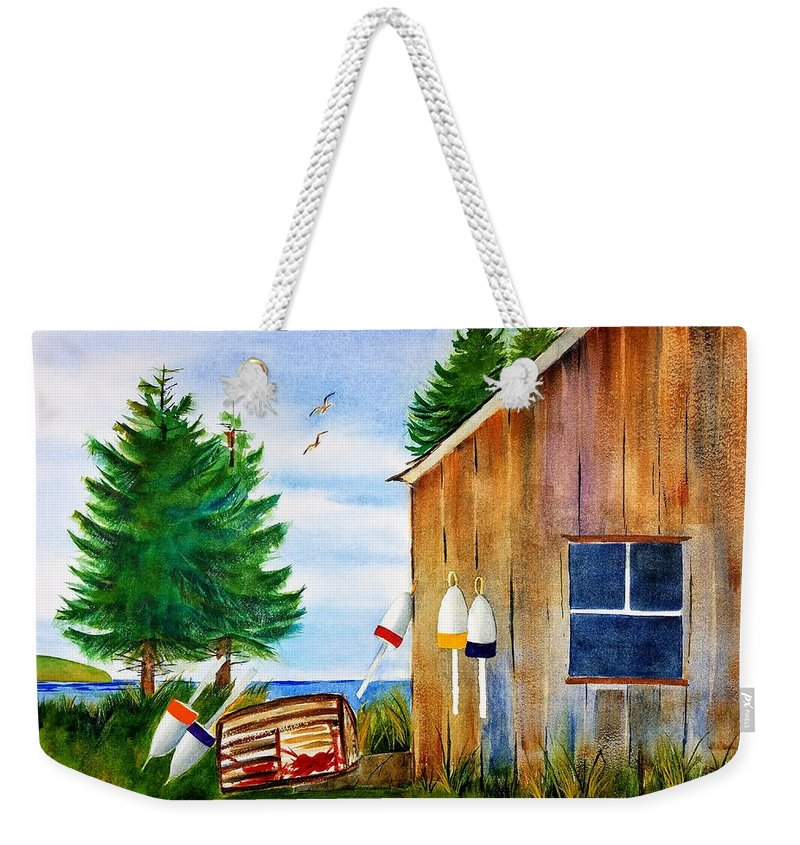 Watercolor Painting Weekender Tote Bag featuring the painting Right Next Door by Don Whitesel