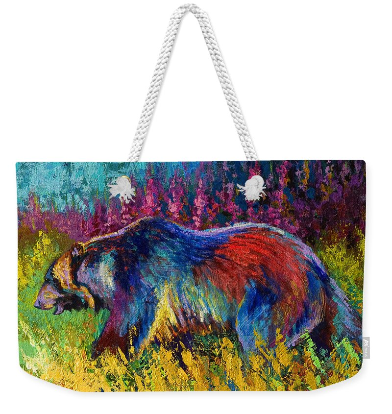 Western Weekender Tote Bag featuring the painting Right Of Way - Grizzly Bear by Marion Rose