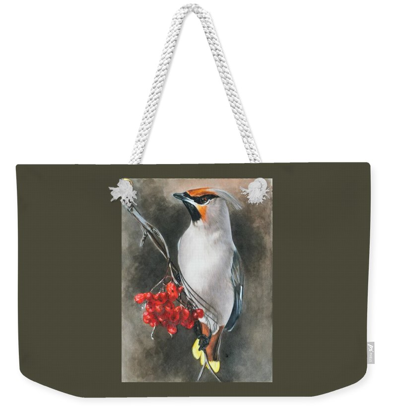 Cedar Waxwing Weekender Tote Bag featuring the painting Righteous by Barbara Keith