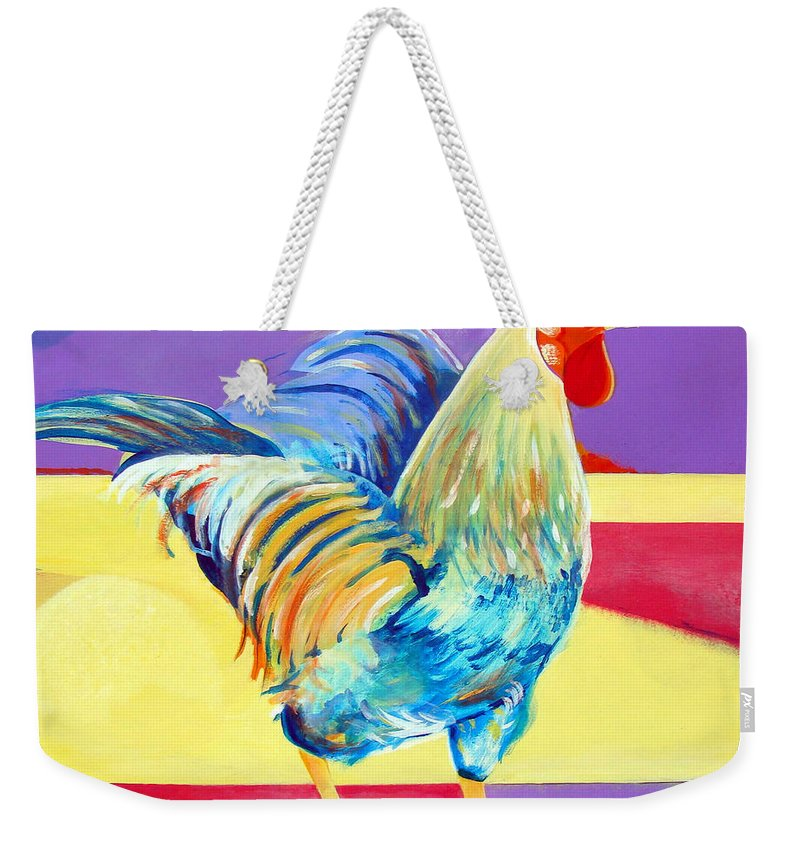 Rooster Weekender Tote Bag featuring the painting Riley The Rooster by Christine Belt