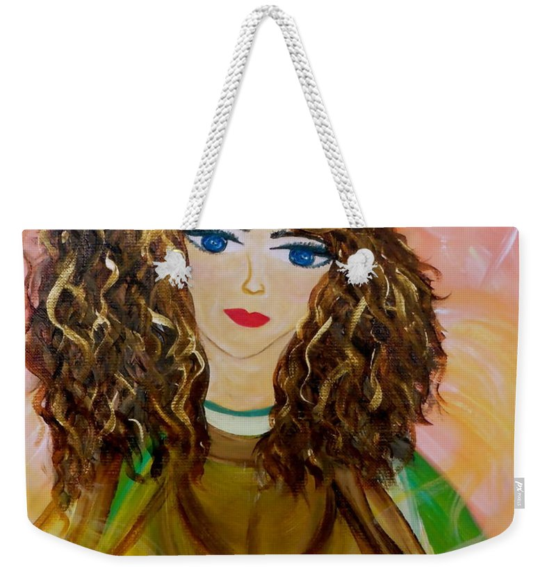 Whimsical Female Figure Weekender Tote Bag featuring the painting Rinna Bella by Sara Credito