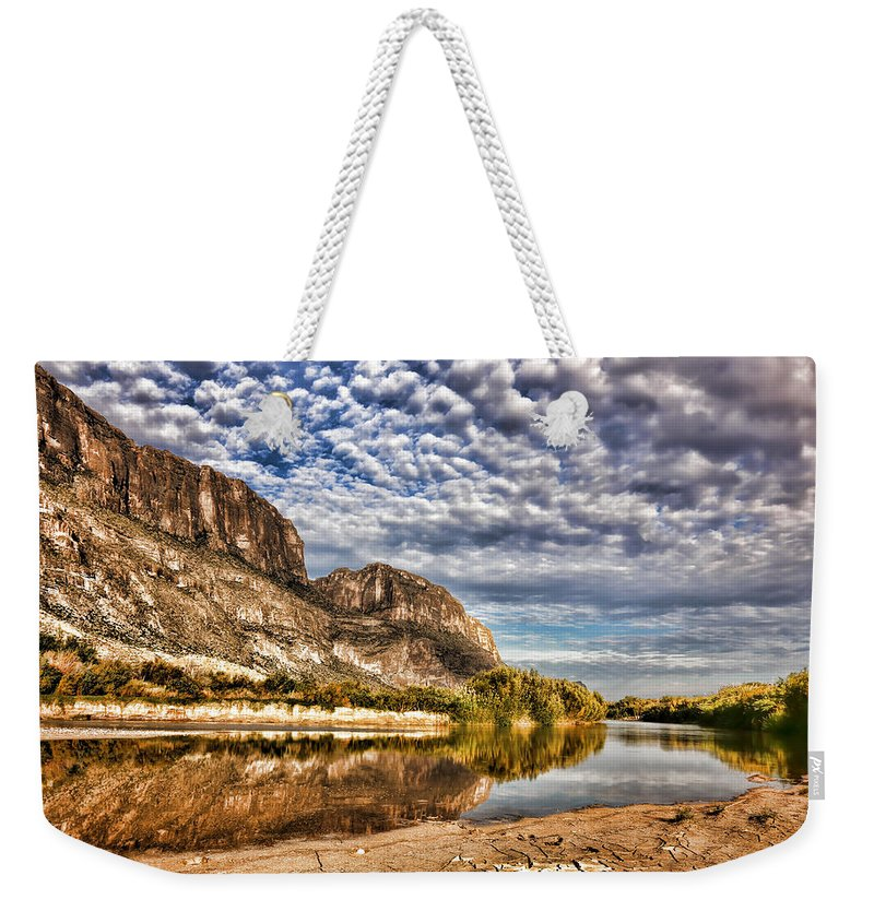 Rio Grande River Weekender Tote Bag featuring the photograph Rio Grande River 1 by Judy Vincent
