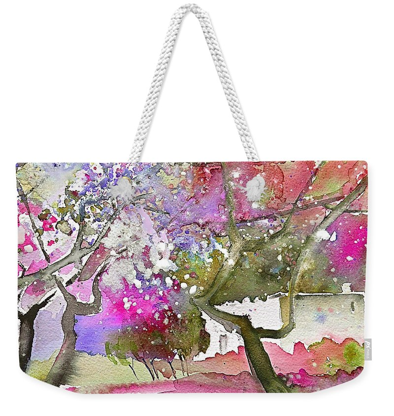 Spain Rioja Painting Travel Sketch Water Colour Miki Weekender Tote Bag featuring the painting Rioja Spain 02 by Miki De Goodaboom