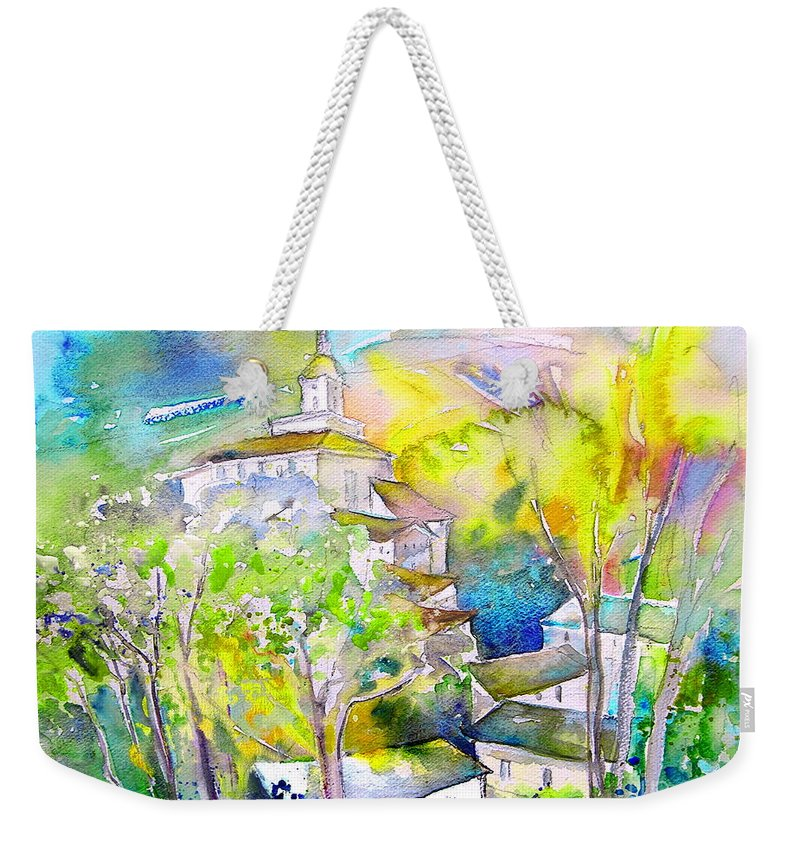 Watercolour Travel Painting Of A Village In La Rioja Spain Weekender Tote Bag featuring the painting Rioja Spain 04 by Miki De Goodaboom