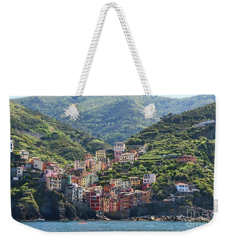 Cinque Terre Weekender Tote Bag featuring the photograph Riomaggiore 0576 Crop by Jack Schultz