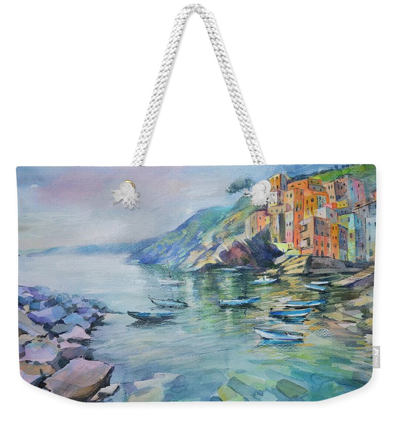 Landscape Weekender Tote Bag featuring the painting Riomaggiore Cinque Terre Italy by Annika Zalmover