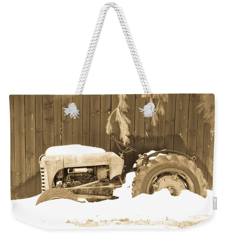 Tractor. Oliver Weekender Tote Bag featuring the photograph Rip Old Oliver Tractor by John Harmon