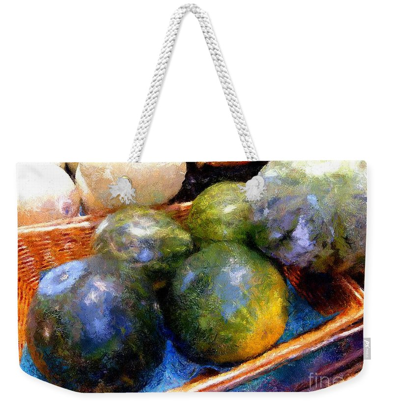 Basket Weekender Tote Bag featuring the painting Ripe And Luscious Melons by RC DeWinter