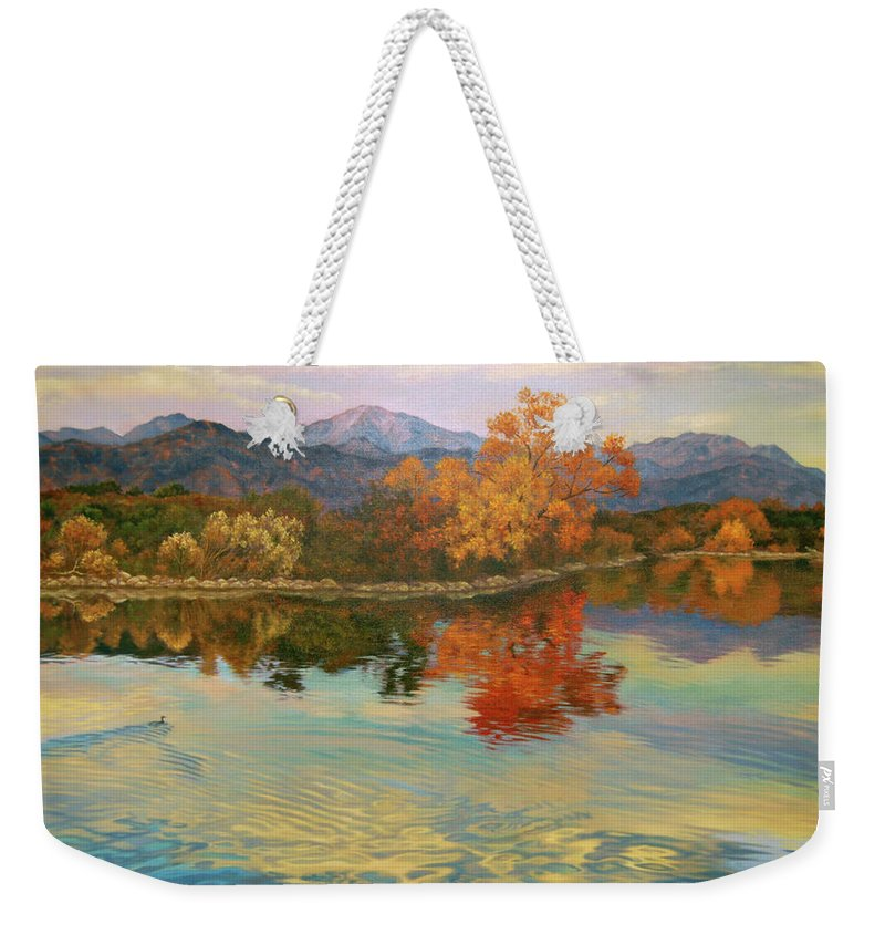 Lake Weekender Tote Bag featuring the painting Ripple Effect by Johanna Girard