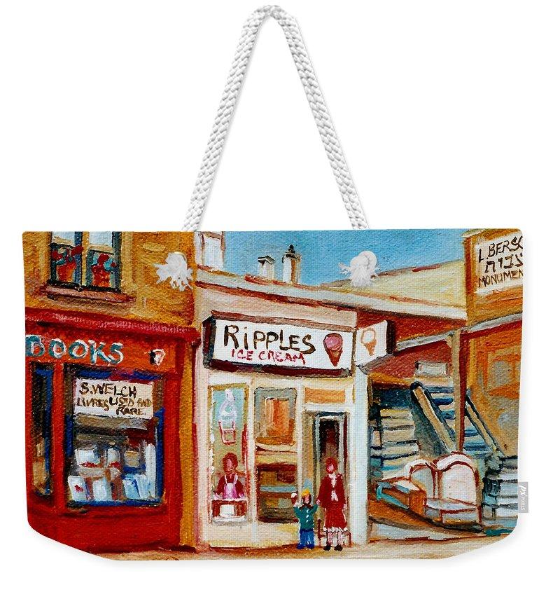 Ripples Icecream Weekender Tote Bag featuring the painting Ripples Icecream by Carole Spandau