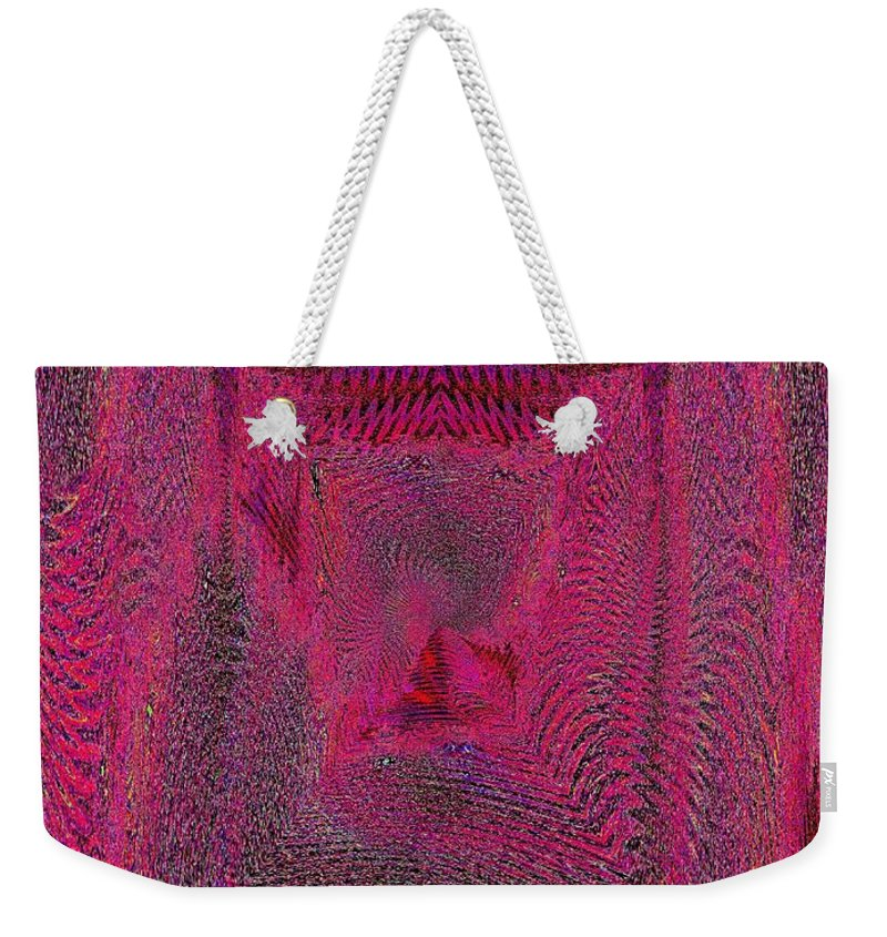 Abstract Weekender Tote Bag featuring the digital art Ripples In Red by Tim Allen
