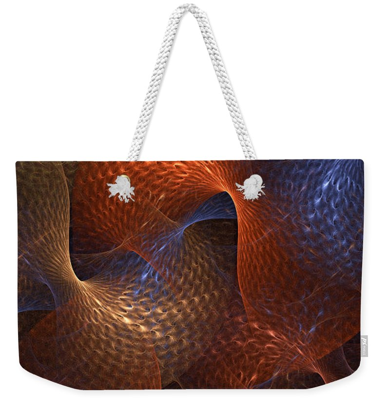 Abstract Weekender Tote Bag featuring the digital art Rips In The Fabric Of Time by Ann Garrett