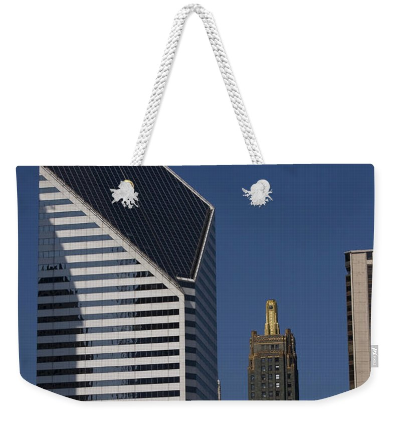 Chicago Windy City Blue Sky Building Skyscraper Metro Urban Tall High Big Weekender Tote Bag featuring the photograph Rising High by Andrei Shliakhau