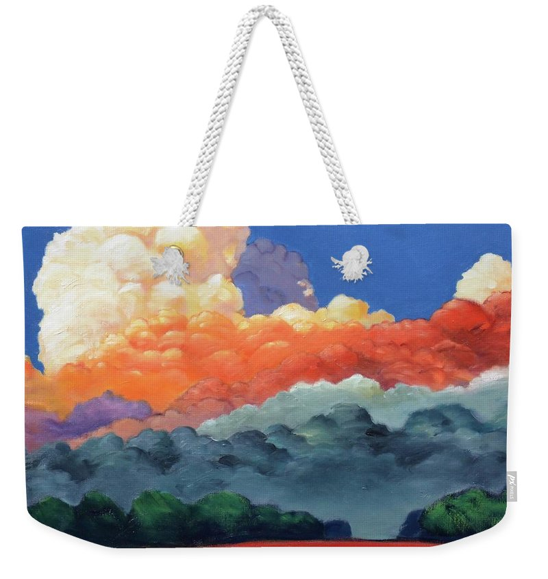 Clouds Weekender Tote Bag featuring the painting Rising High by Gary Coleman