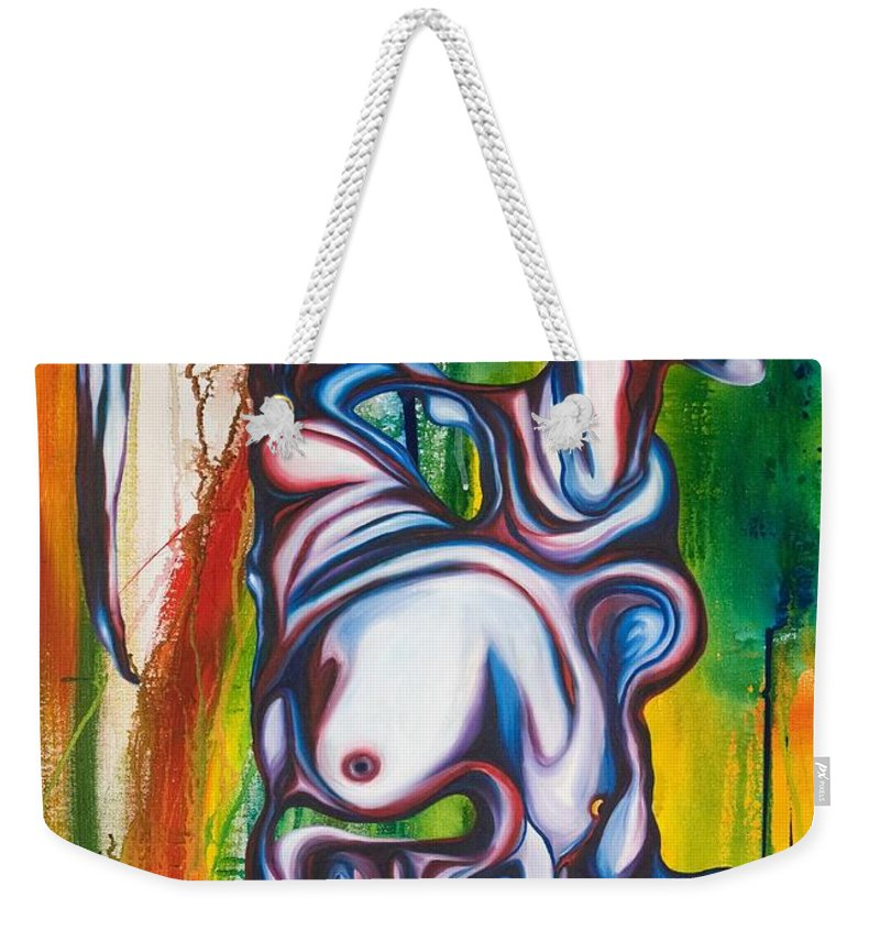 Monster Weekender Tote Bag featuring the painting Rising Son by Sheridan Furrer
