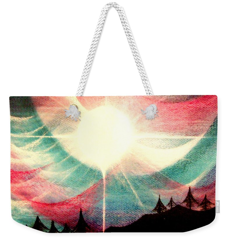 Sunrise.landscape Weekender Tote Bag featuring the painting Rising Sun by Kumiko Mayer