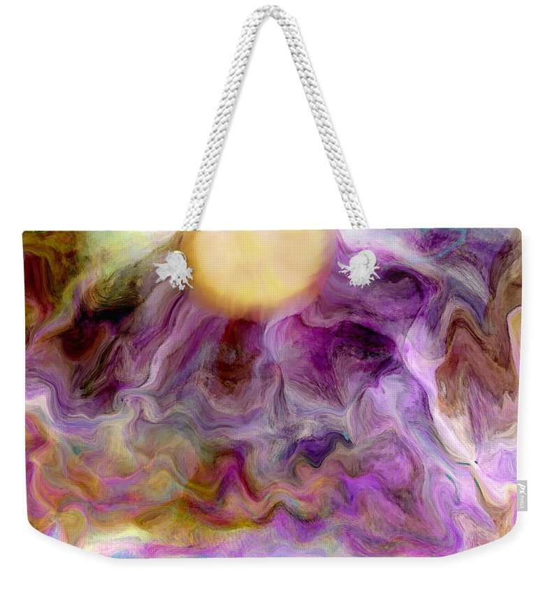 Abstract Art Weekender Tote Bag featuring the digital art Rising Sun by Linda Sannuti