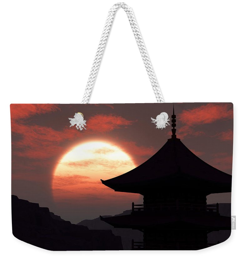 Oriental Weekender Tote Bag featuring the digital art Rising Sun by Richard Rizzo