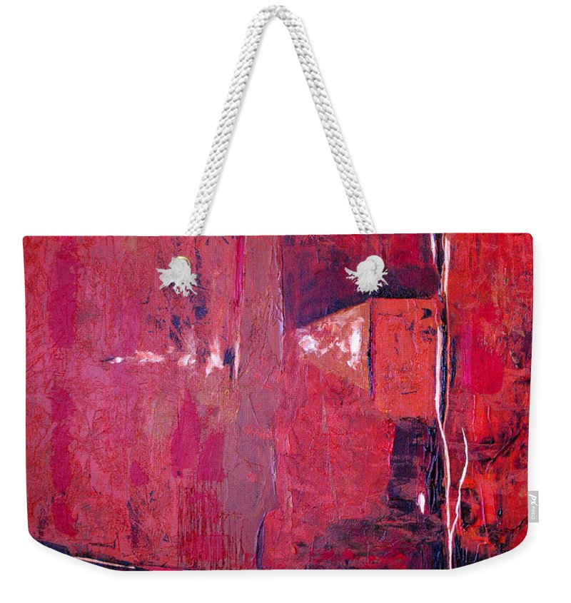 Abstract Weekender Tote Bag featuring the painting Risky Business by Ruth Palmer