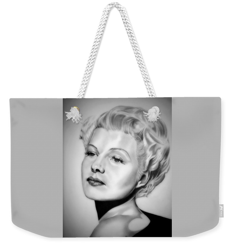 Rita Hayworth Weekender Tote Bag featuring the drawing Rita Hayworth by Fred Larucci