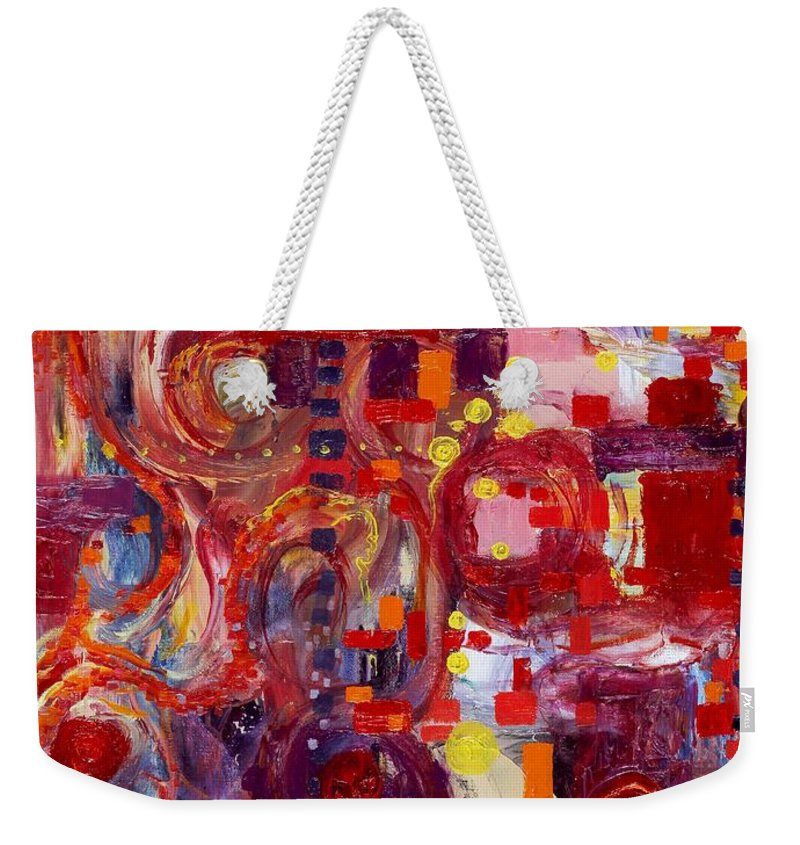 Abstract Expressionist Weekender Tote Bag featuring the painting Rite Of Spring by Regina Valluzzi