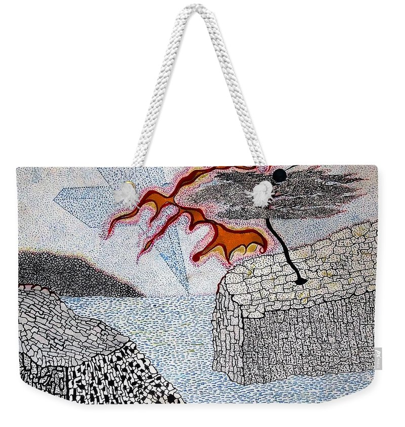 Sureal Weekender Tote Bag featuring the drawing River And Water by Yury Bashkin