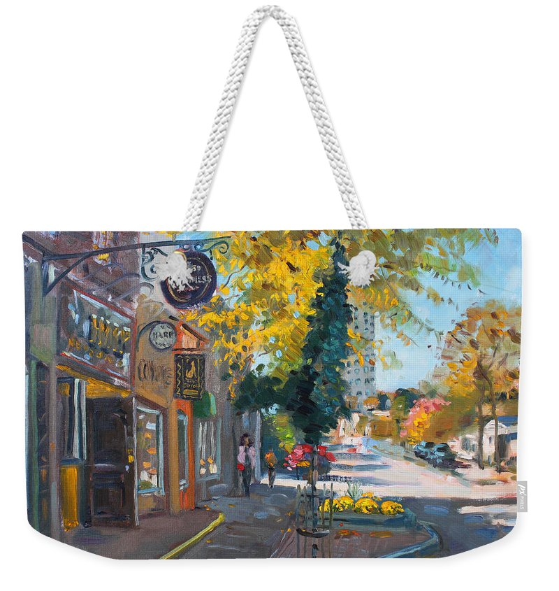 River Coyote Gallery Weekender Tote Bag featuring the painting River Coyote Gallery Mississauga by Ylli Haruni