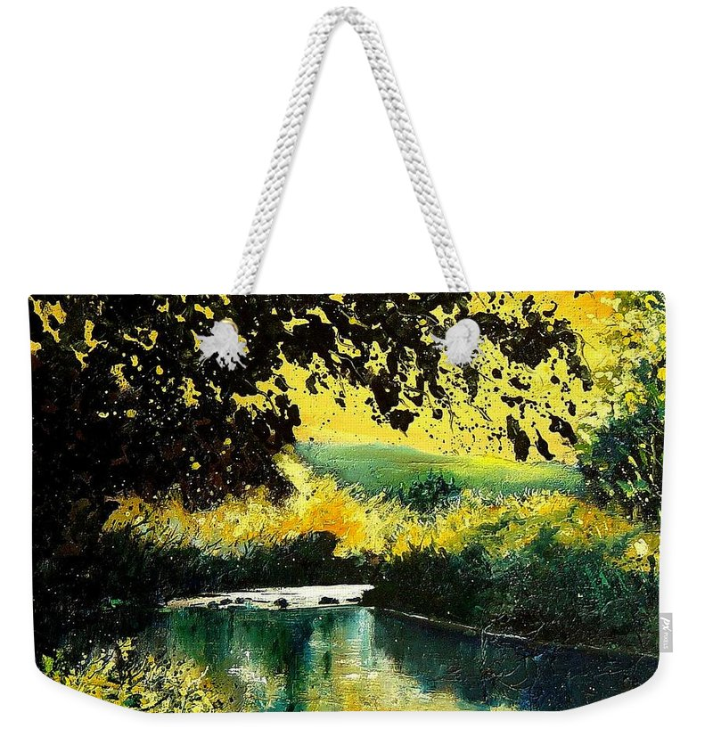 River Weekender Tote Bag featuring the painting River Houille by Pol Ledent